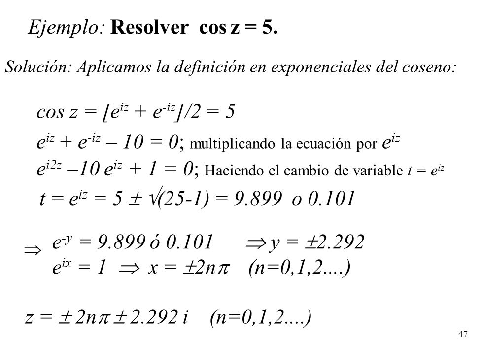 Ejemplo: Resolver cos z = 5.