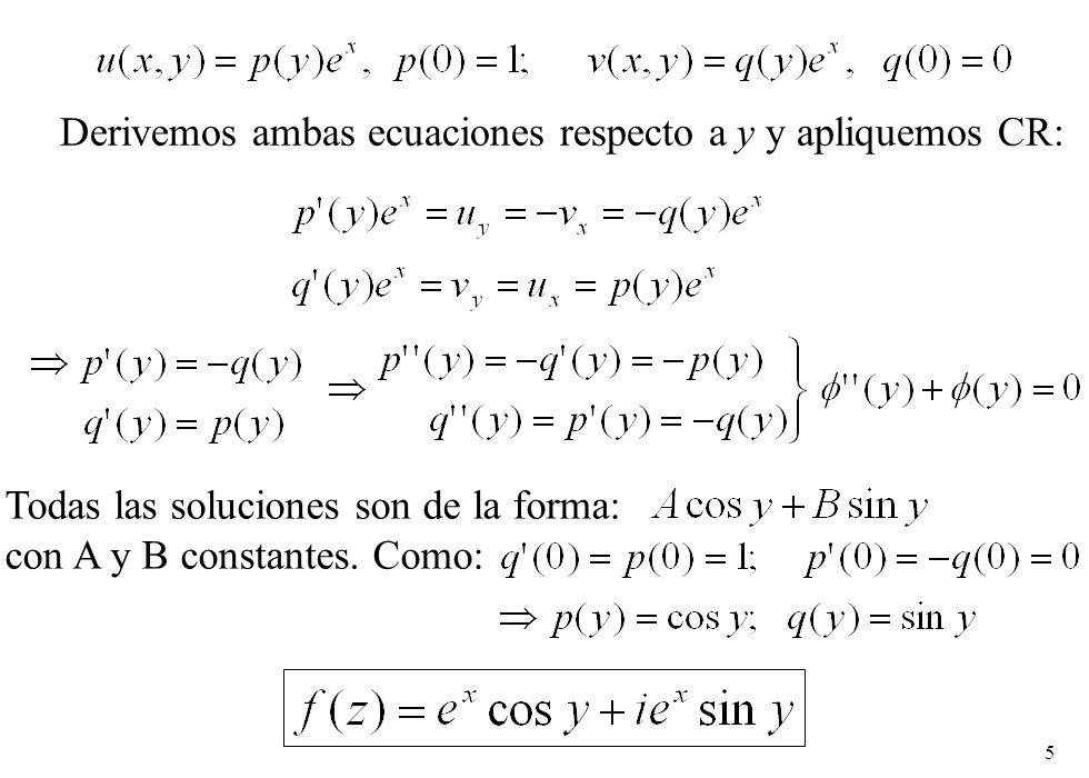 Derivemos ambas ecuaciones respecto a y y apliquemos CR: