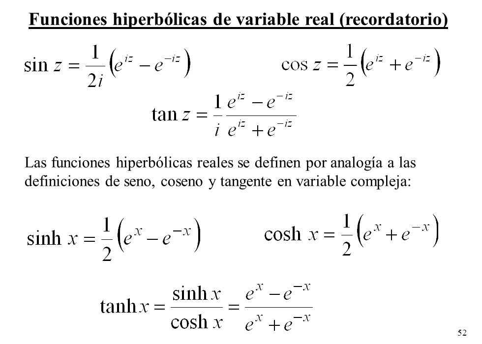 Funciones hiperbólicas de variable real (recordatorio)