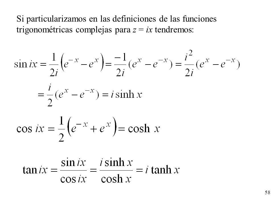 Si particularizamos en las definiciones de las funciones trigonométricas complejas para z = ix tendremos: