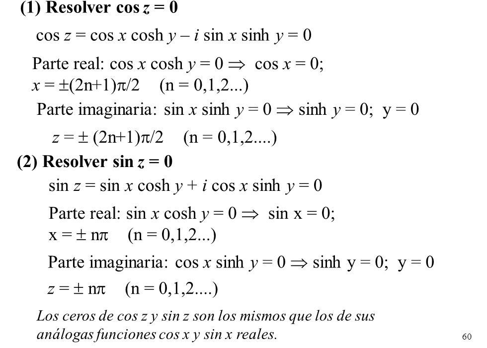 cos z = cos x cosh y – i sin x sinh y = 0