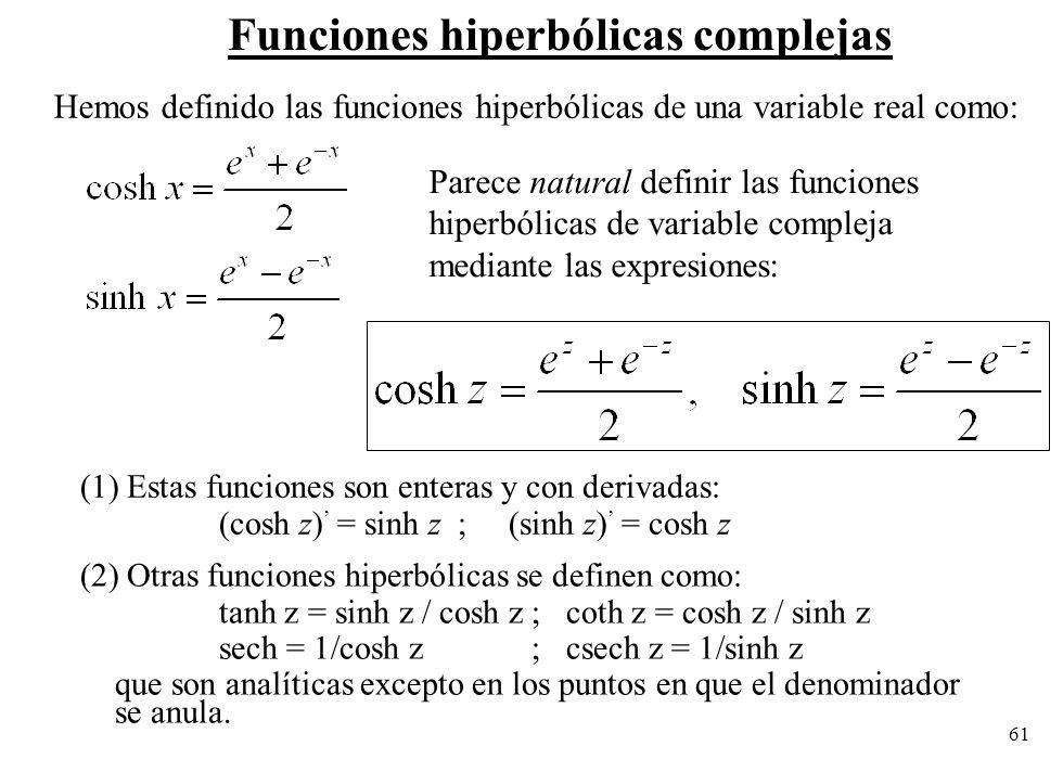 Funciones hiperbólicas complejas