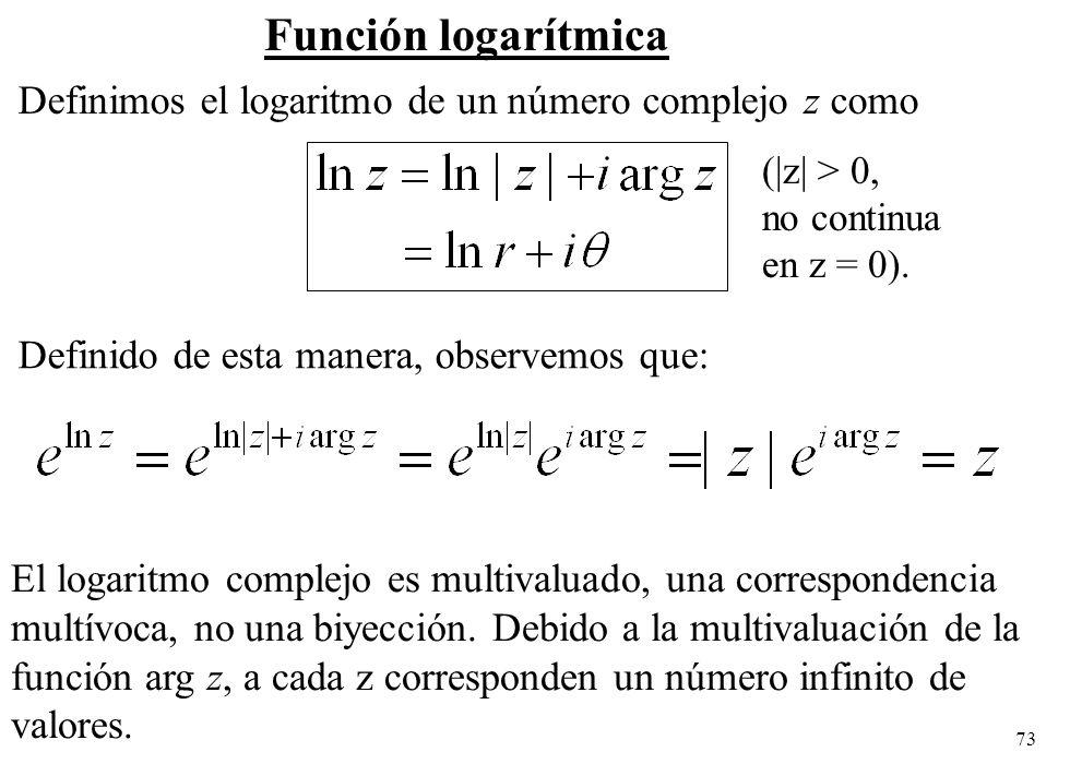 Función logarítmica Definimos el logaritmo de un número complejo z como. (|z| > 0, no continua. en z = 0).