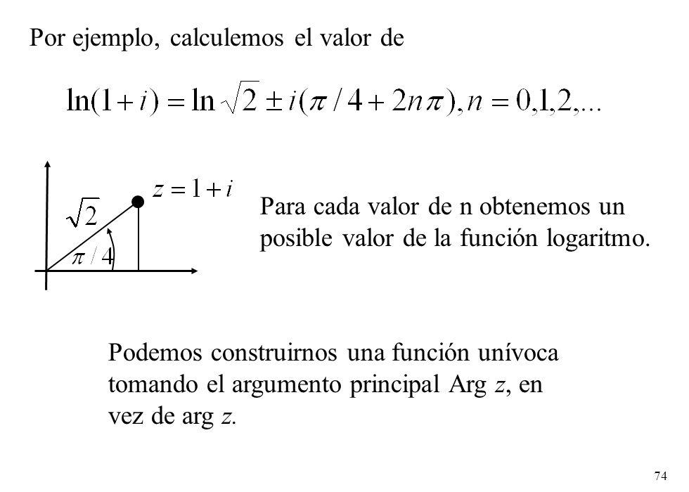 Por ejemplo, calculemos el valor de