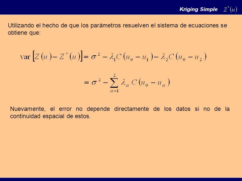 Kriging Simple Utilizando el hecho de que los parámetros resuelven el sistema de ecuaciones se obtiene que:
