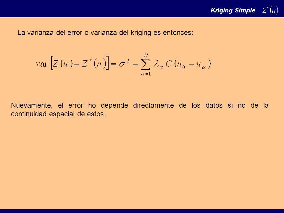 La varianza del error o varianza del kriging es entonces: