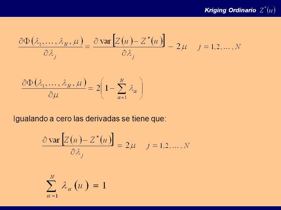 Igualando a cero las derivadas se tiene que: