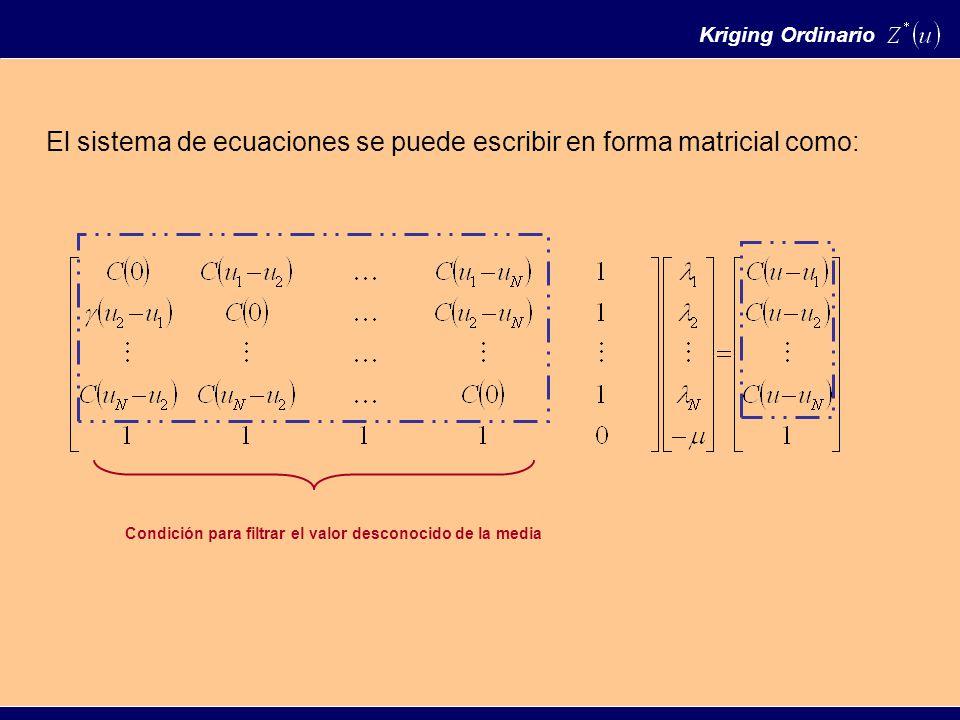 El sistema de ecuaciones se puede escribir en forma matricial como: