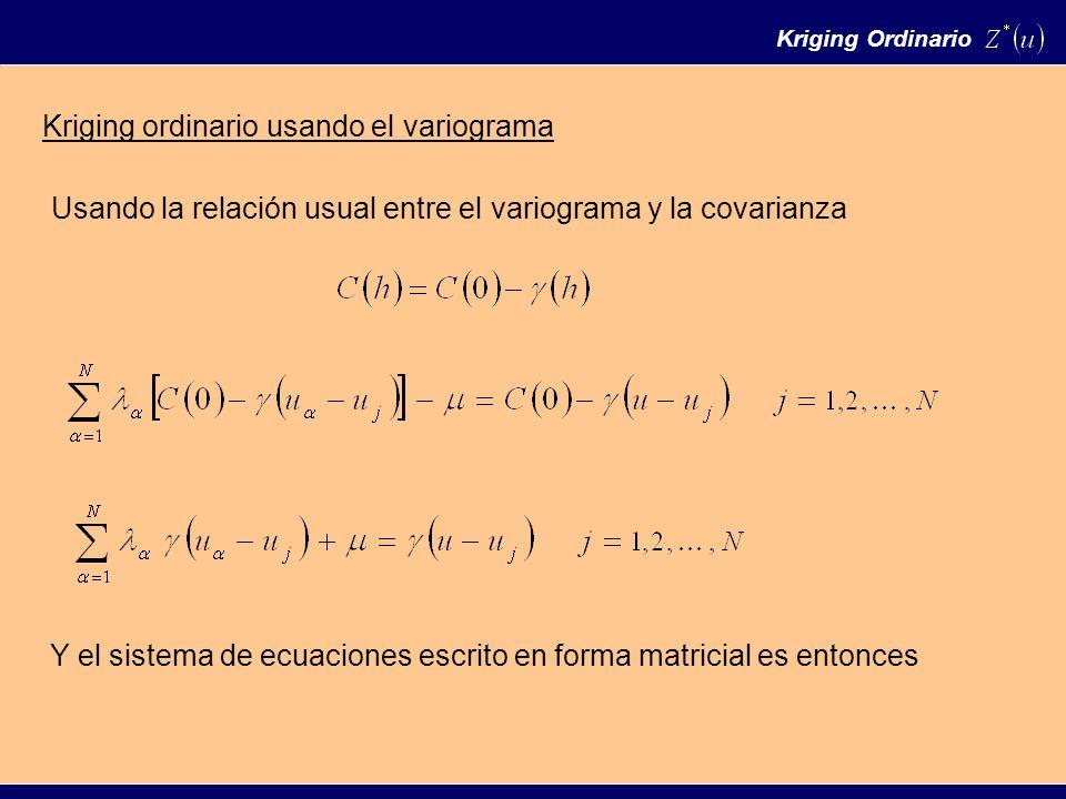 Kriging ordinario usando el variograma