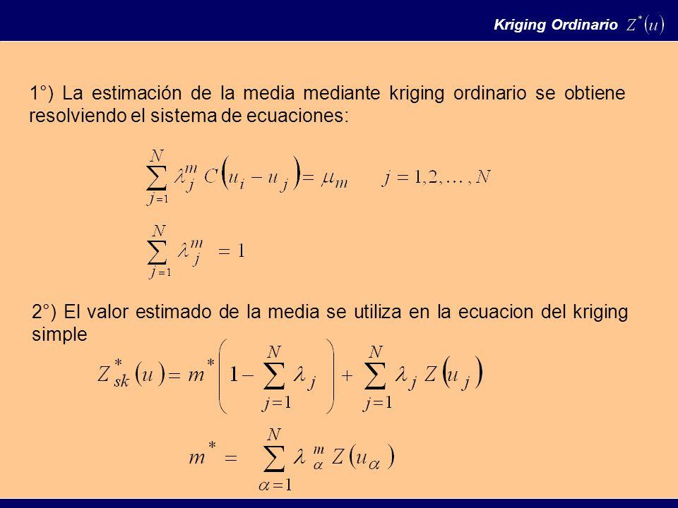 Kriging Ordinario 1°) La estimación de la media mediante kriging ordinario se obtiene resolviendo el sistema de ecuaciones: