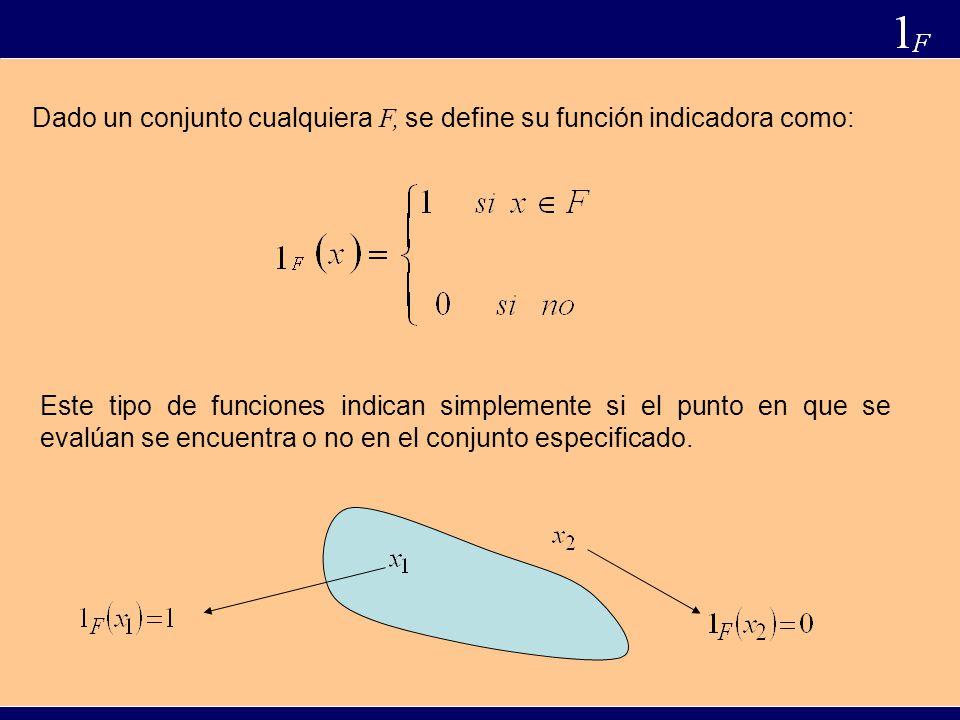 Dado un conjunto cualquiera F, se define su función indicadora como: