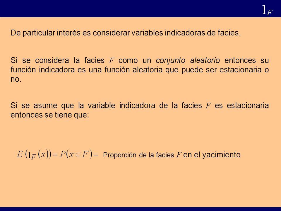 De particular interés es considerar variables indicadoras de facies.