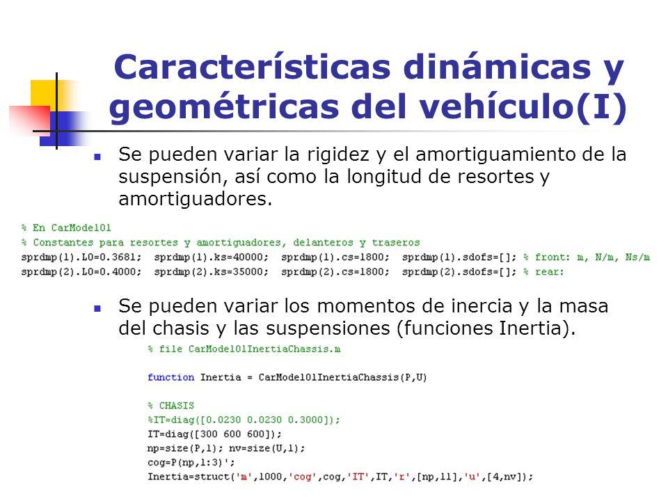 Características dinámicas y geométricas del vehículo(I)