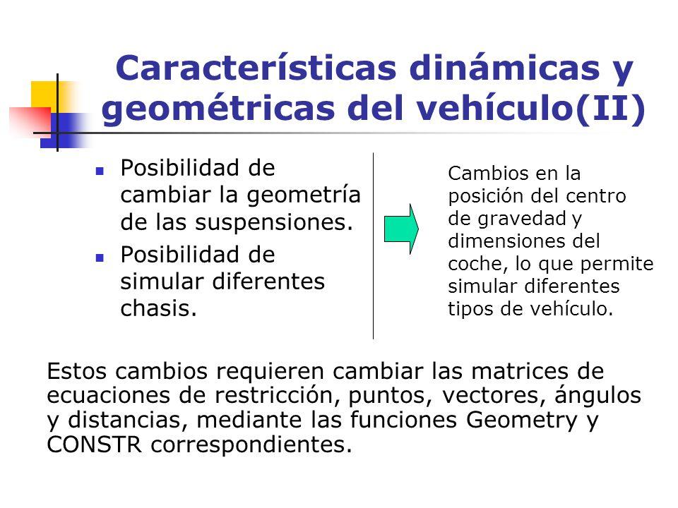 Características dinámicas y geométricas del vehículo(II)