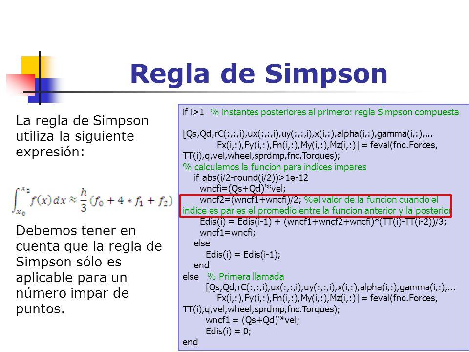 Regla de Simpson La regla de Simpson utiliza la siguiente expresión:
