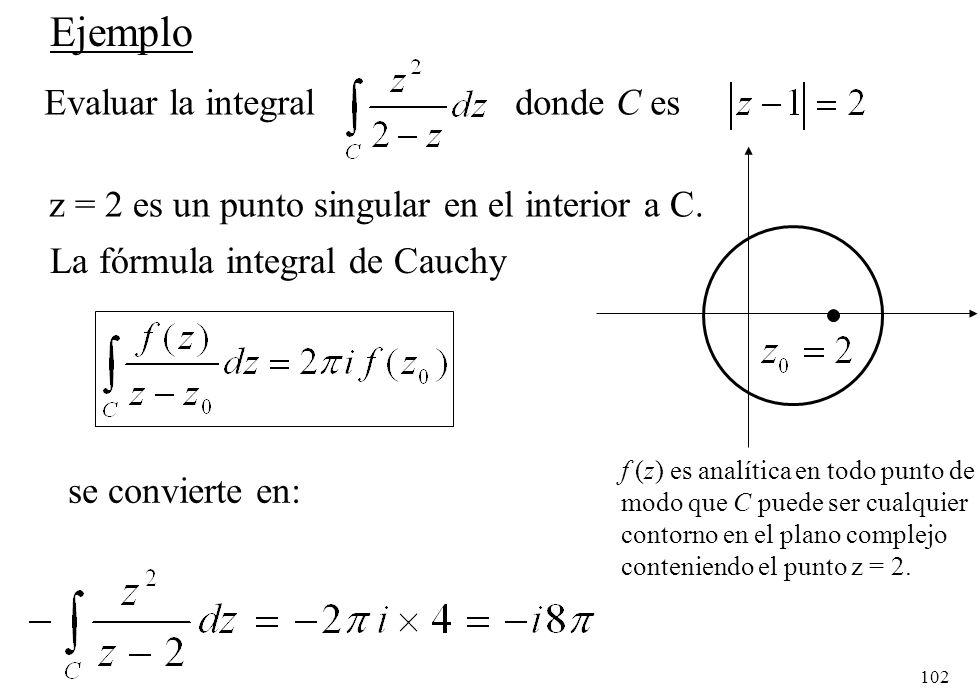 Ejemplo Evaluar la integral donde C es