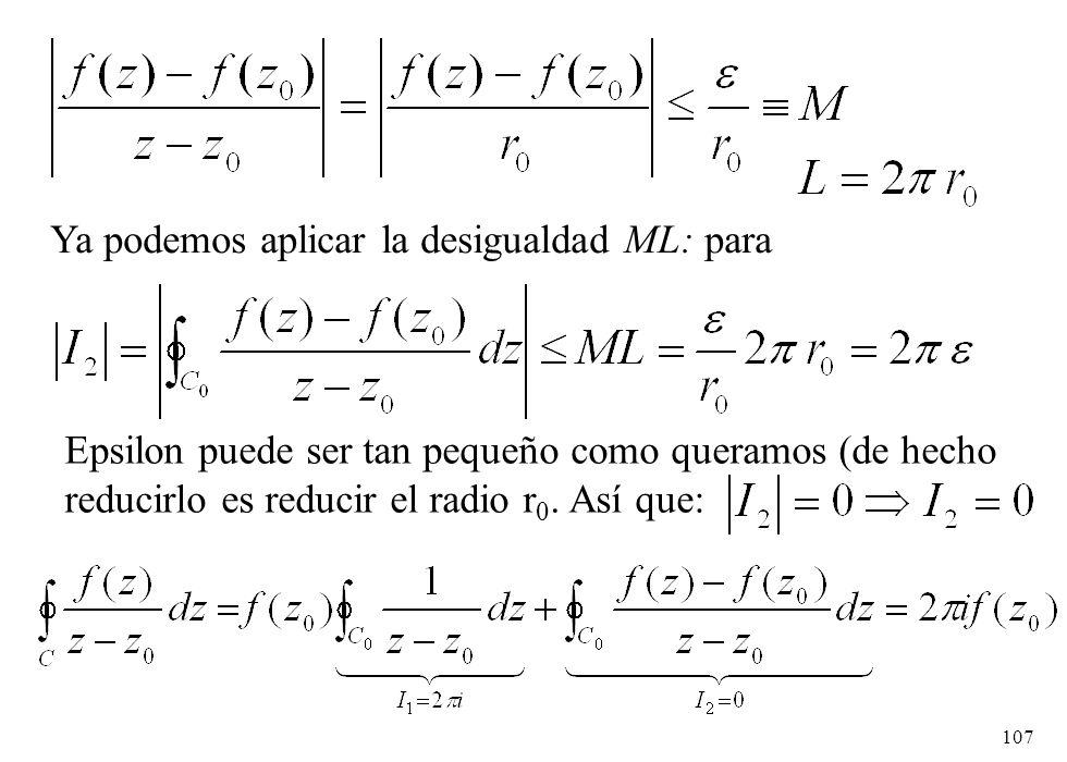 Ya podemos aplicar la desigualdad ML: para