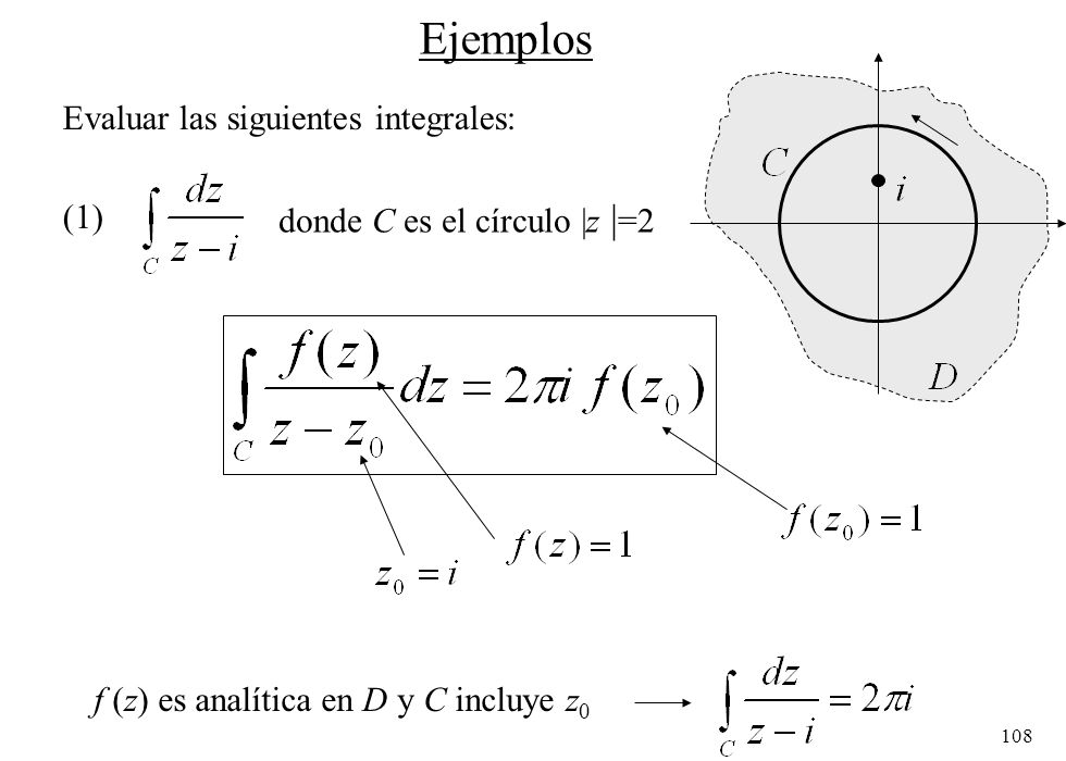 Ejemplos Evaluar las siguientes integrales: (1)