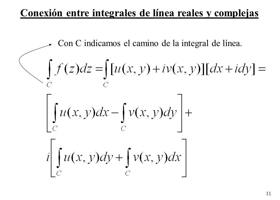 Conexión entre integrales de línea reales y complejas