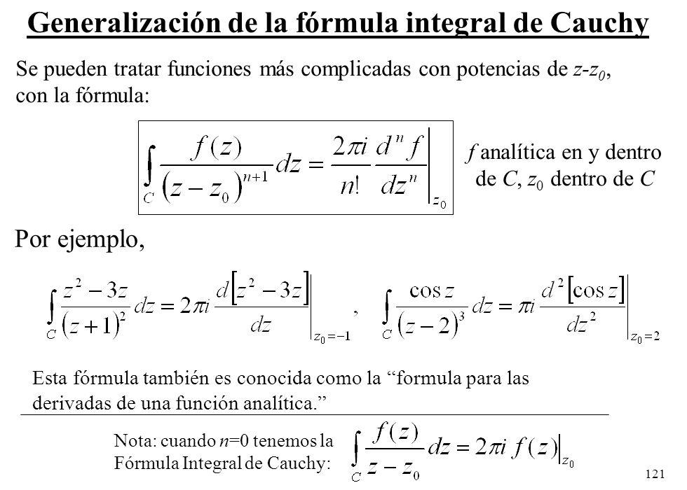 Generalización de la fórmula integral de Cauchy