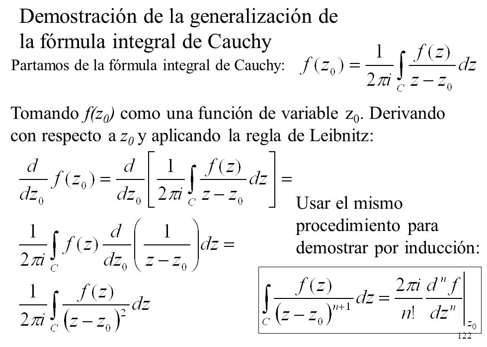 Demostración de la generalización de la fórmula integral de Cauchy