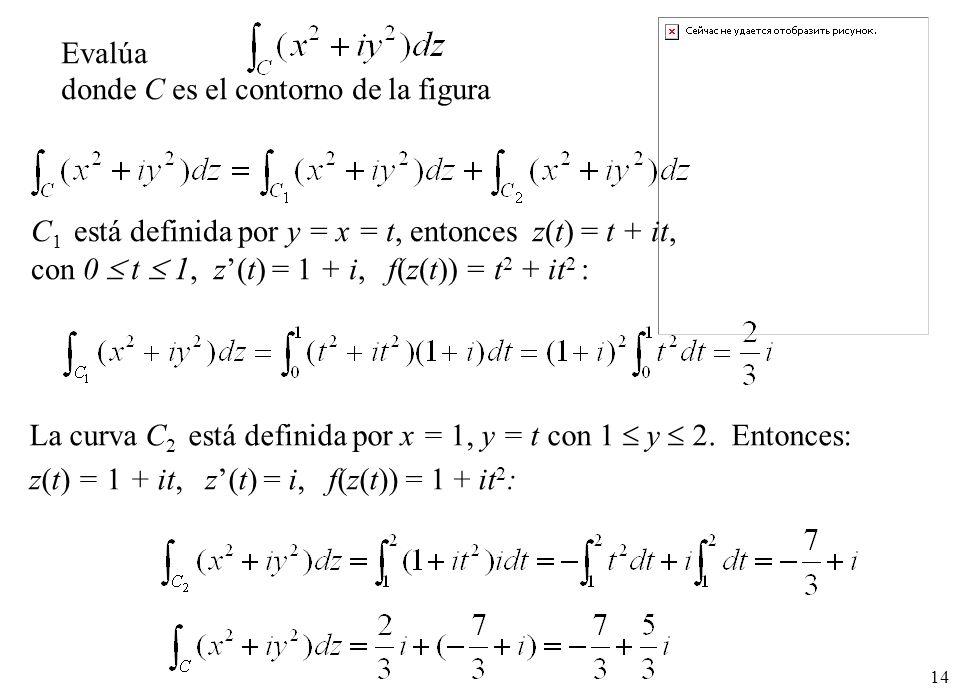 Evalúa donde C es el contorno de la figura