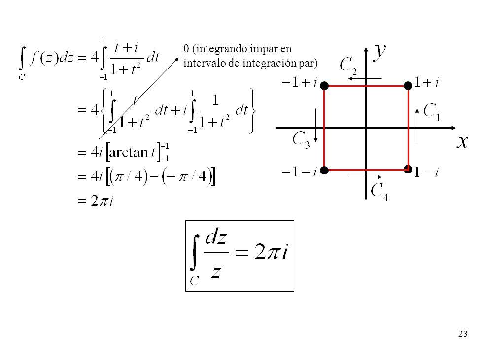 0 (integrando impar en intervalo de integración par)