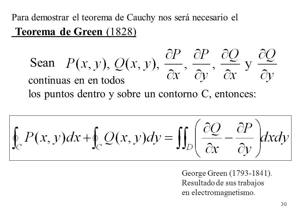 Teorema de Green (1828) Sean continuas en en todos
