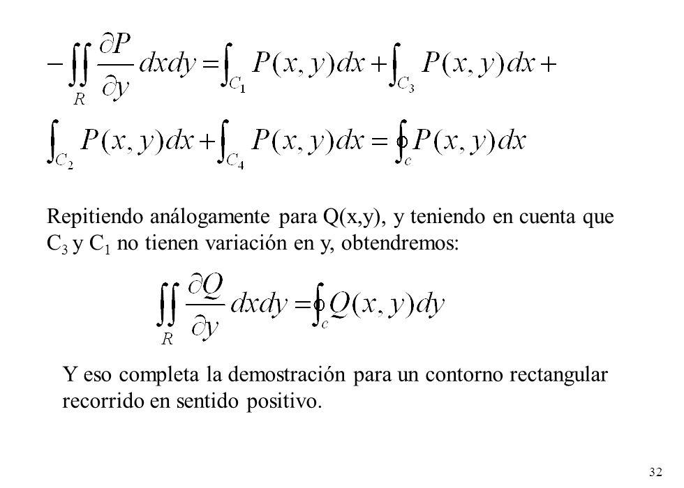 Repitiendo análogamente para Q(x,y), y teniendo en cuenta que