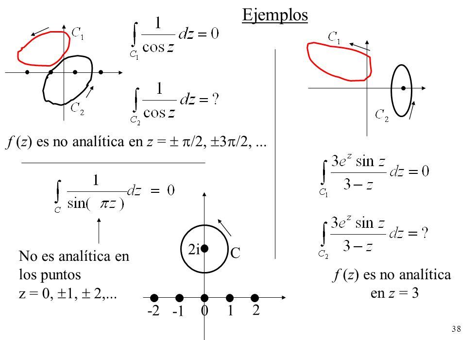 Ejemplos f (z) es no analítica en z =  /2, 3/2, ... 2i C