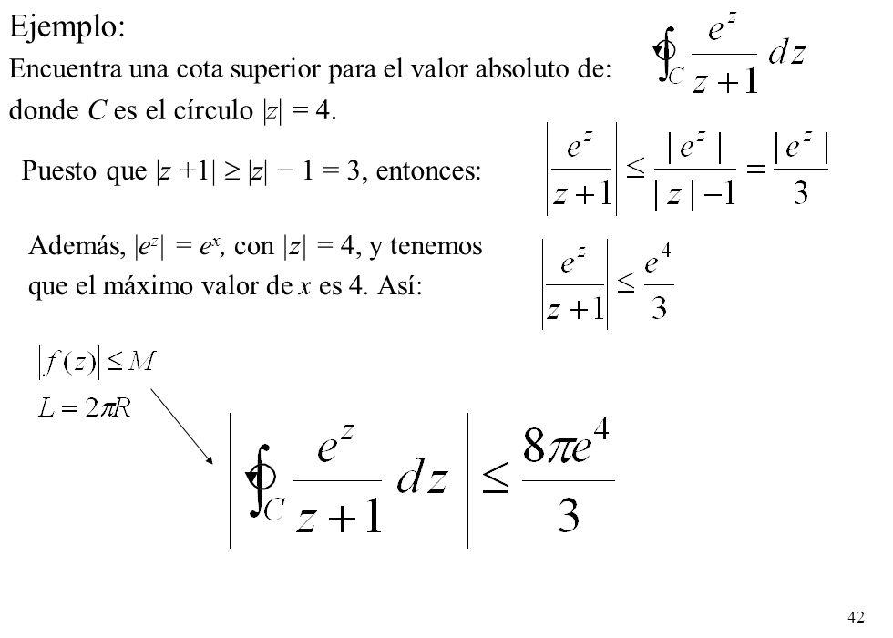 Ejemplo: donde C es el círculo |z| = 4.