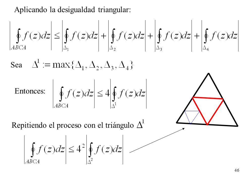 Aplicando la desigualdad triangular: