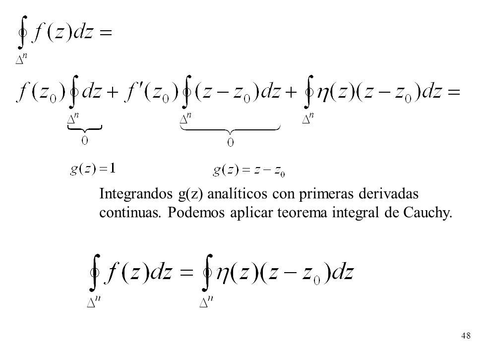 Integrandos g(z) analíticos con primeras derivadas