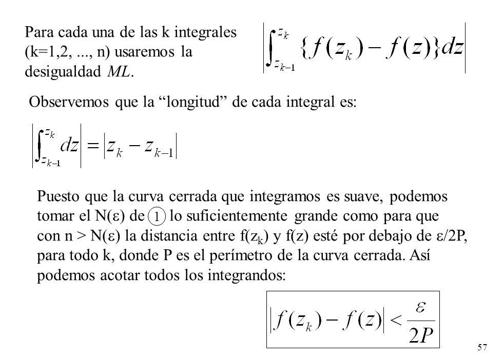 Para cada una de las k integrales (k=1,2, ..., n) usaremos la
