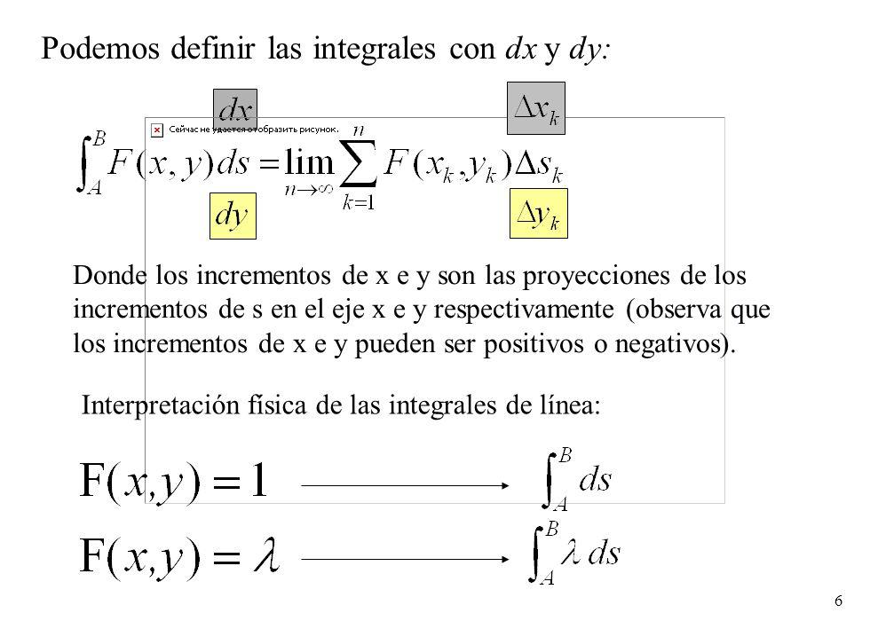 Podemos definir las integrales con dx y dy: