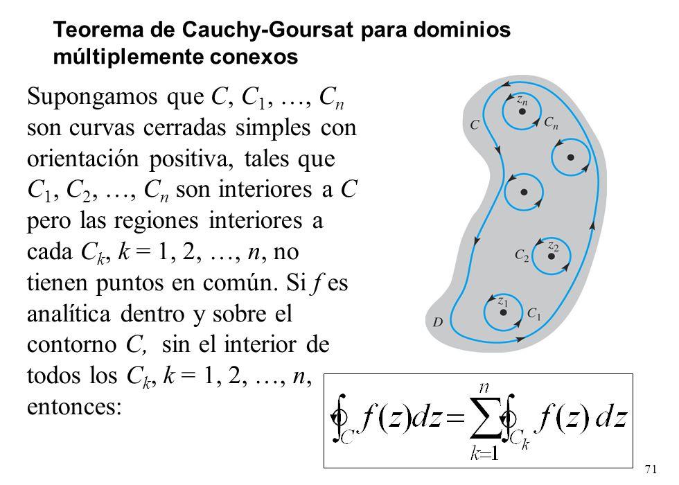 Teorema de Cauchy-Goursat para dominios múltiplemente conexos