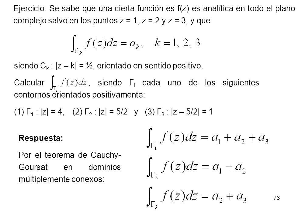 Ejercicio: Se sabe que una cierta función es f(z) es analítica en todo el plano complejo salvo en los puntos z = 1, z = 2 y z = 3, y que