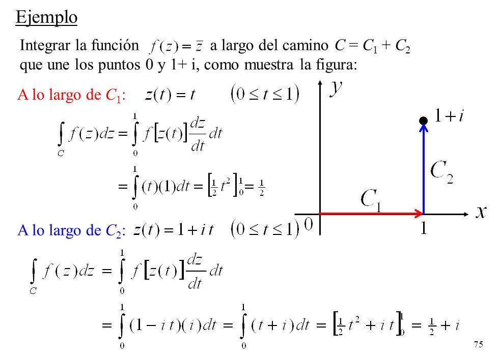 Ejemplo Integrar la función a largo del camino C = C1 + C2