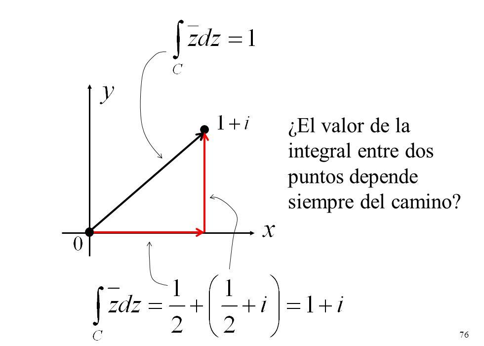 ¿El valor de la integral entre dos puntos depende siempre del camino