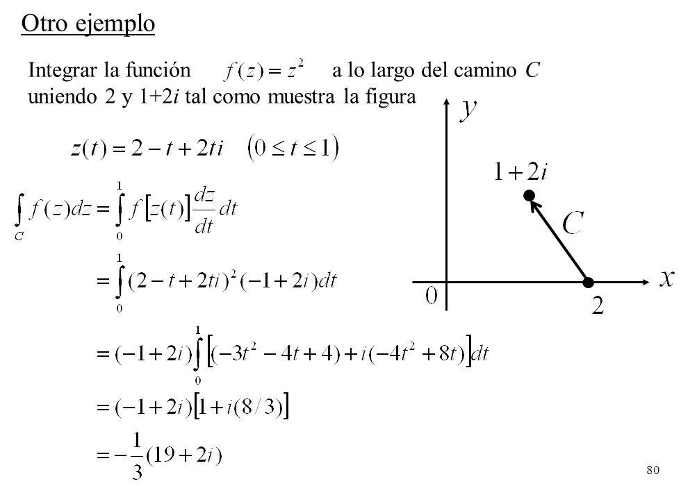 Otro ejemplo Integrar la función a lo largo del camino C