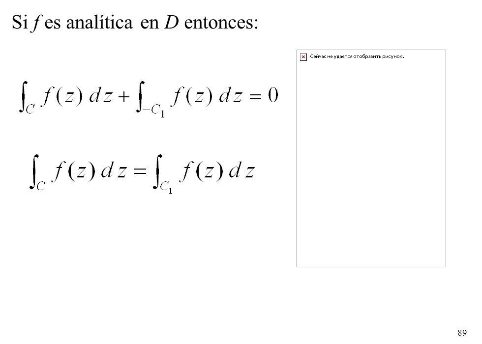 Si f es analítica en D entonces: