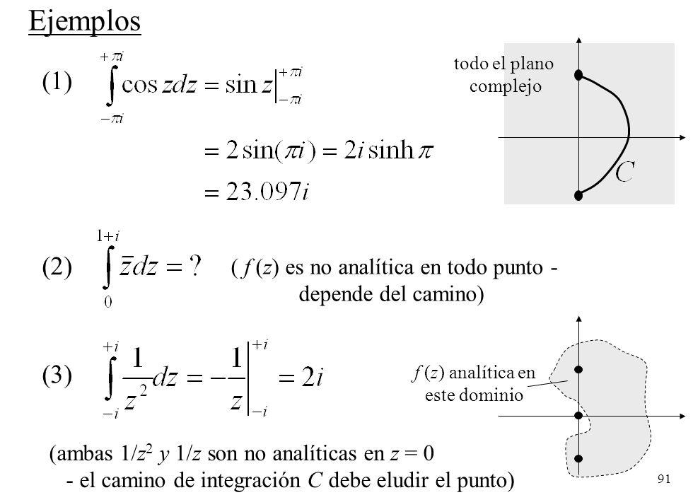 Ejemplos (1) (2) (3) ( f (z) es no analítica en todo punto -