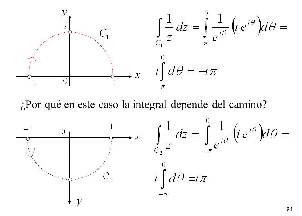 ¿Por qué en este caso la integral depende del camino