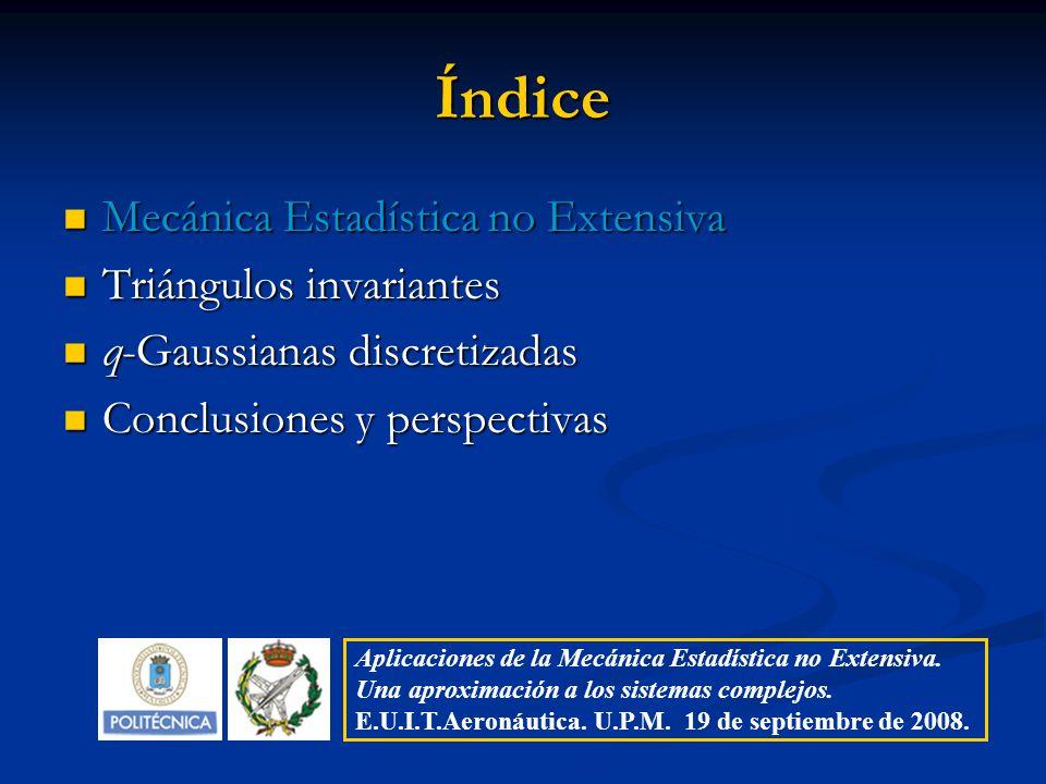 Índice Mecánica Estadística no Extensiva Triángulos invariantes