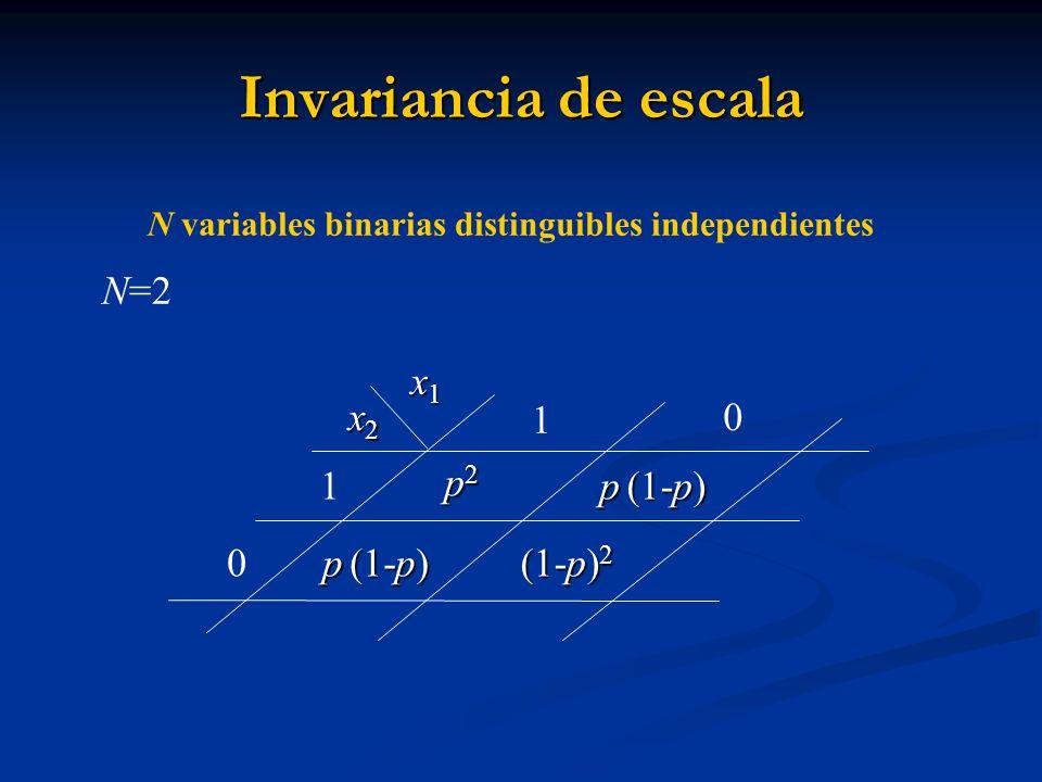 Invariancia de escala N=2 x1 x2 1 p2 p (1-p) (1-p)2