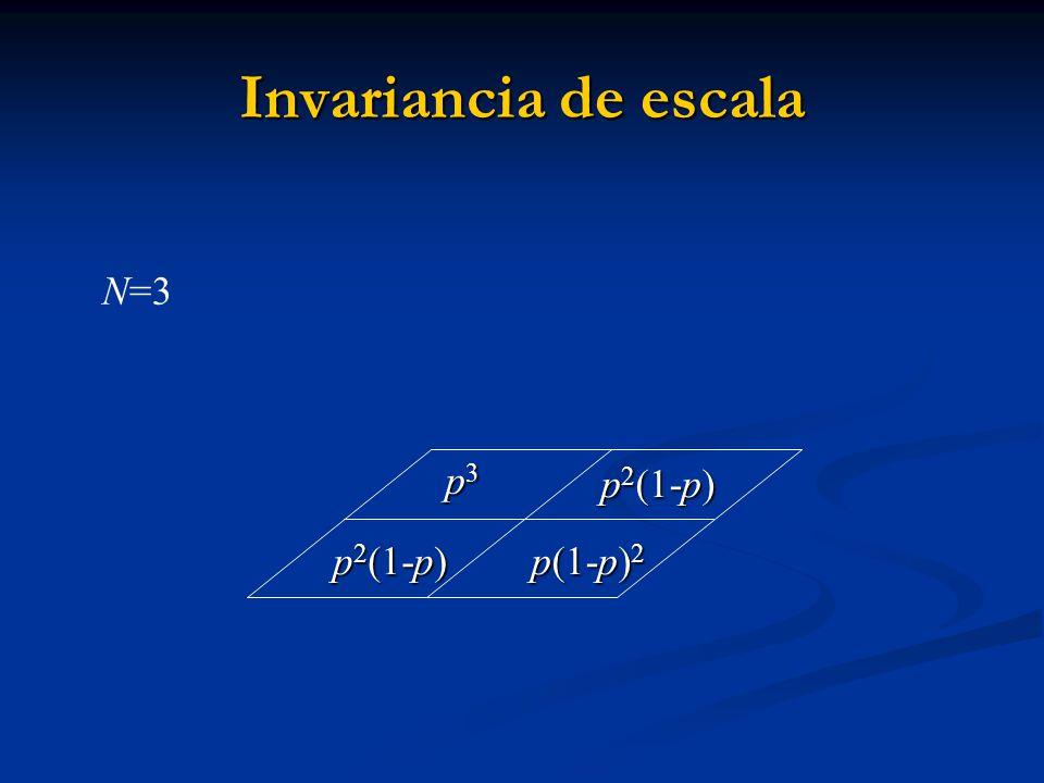 Invariancia de escala N=3 p3 p2(1-p) p(1-p)2