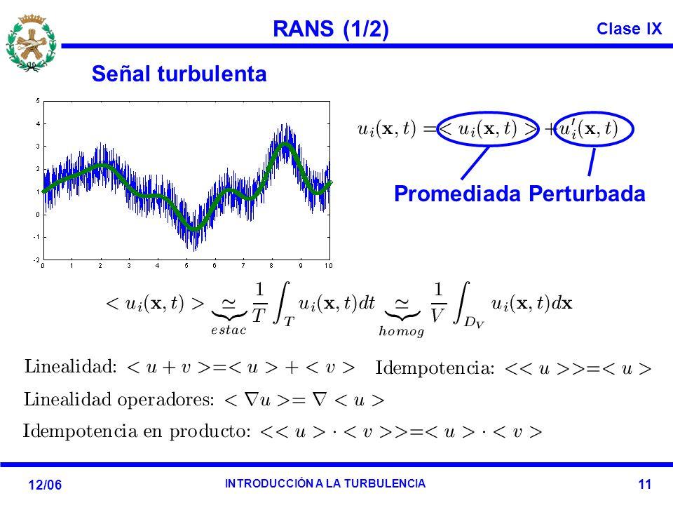 RANS (1/2) Señal turbulenta Promediada Perturbada