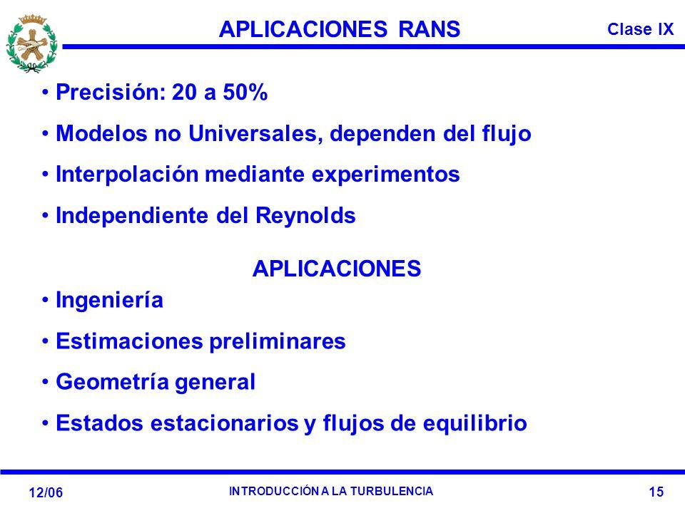 APLICACIONES RANS APLICACIONES. Precisión: 20 a 50% Modelos no Universales, dependen del flujo. Interpolación mediante experimentos.