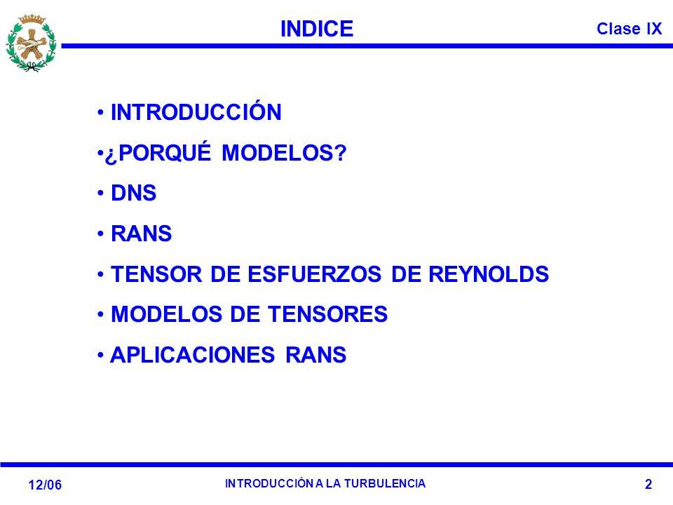 INDICE INTRODUCCIÓN. ¿PORQUÉ MODELOS DNS. RANS. TENSOR DE ESFUERZOS DE REYNOLDS. MODELOS DE TENSORES.
