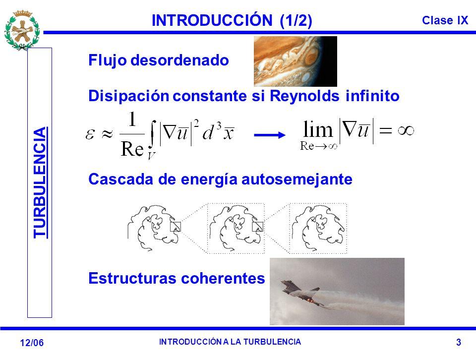 INTRODUCCIÓN (1/2) Flujo desordenado. Disipación constante si Reynolds infinito. Cascada de energía autosemejante.